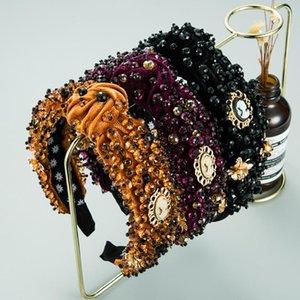 Baroque Style Knotted Hairbands Full of Rhinestones Pleuche Headband Handmade Turban for Women Girls Hairhoop Hair Accessories