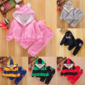 Baby Cotton Hooded Set Toddler Girls Autumn Lambswool Jacket Striped Pocket Zipper Keep Warm Winter Wear Kids Letter Casual Outfit 06