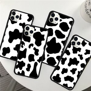 New White Black Cow Symbol Pattern Print Phone Case Cover for IPhone 12 6 6S 7 8 PLUS X XS XR MAX 11 PRO SE 2020 Back Case Cover