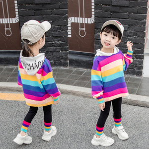 Baby Girl Clothes Designer Toddler Girls Rainbow Outfit Kids Clothing Sets Teen Egirl 2PCS Tshirt+Pants Set Long Sleeve 2021 New C0225