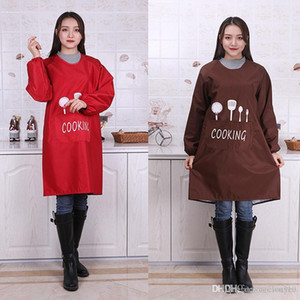 Wholesale Long sleeve Cooking Baking Aprons Waterproof Kitchen Apron Breathable Restaurant Aprons Women Home Letter Print Apron DBC DH0473