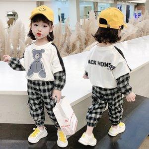 Girls 'Sports Terno Coreano Primavera 2021 New Children's Red Red Children's Leisure Girl Two Peece Terno