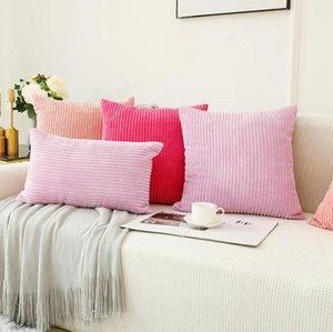 Cileted Soft Codururo Cuscino Covers Stripe Solido decorativo quadrato cuscino cuscino cuscino cuscino per divano camera da letto auto LXL1075Y D