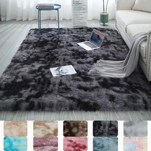 Carpets Colorful Tie Dye Shaggy Bedside Carpet For Bed Room Living Modern Rainbow Plush Faux Fur Area Rug Fluffy Floor Mat Nordic