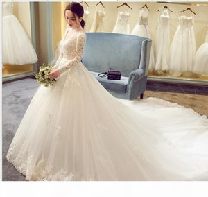 Luxury Lace Appliques 2018 New Winter Sexy V Neck Long Sleeve Wedding Dress Big Tail Prinecess Wedding Gown Vestidos De Novia
