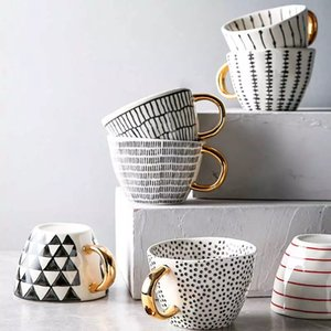 Creative Irregular Ceramic Coffee Mug with Gold Handgrip Handmade Big Pottery Tea Cup Travel Kitchen Tableware Nordic Home Decor GWC6174