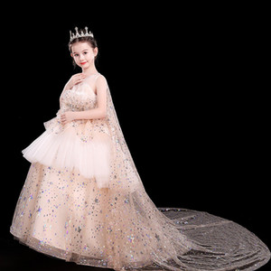 Luxury Gold Bling Sequin Girls Pageant Dresses 2021 New Jewel Neck Crystal Beads Formal Tulle Formal Party Dress for Teen Kids Flowers Girls