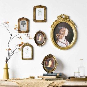 Cutelife Nordic Ins Смола PO настенная рамка с искусством домашнего декора Деревянная картина рамка винтажная имитация резная картина деревянная рамка 210611