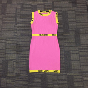 Dress 21ss Women Casual Dress Letter Embroidery Sexy Lady Dresses A-Line Contrast Colors Fashion Sleeveless Dresses Breathable Clothing