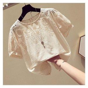 Women's Blouses & Shirts Korean Crochet Hollow Chiffon Top 2021 Summer Slim Shirt Female Large Size Loose Round Neck