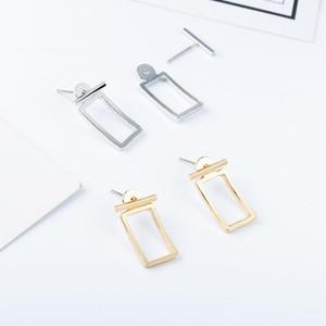 20pairs Lot European Rectangular Hollow Stud Earrings Geometric Alloy Silver Ear Nail Women Gift Ear Drop Jewelry Accessories Wholesale