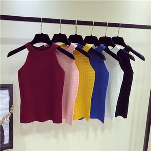 Clothes Womens Summer Sleeveless Knitting Crop Top Sexy Skinny Solid Color Vest Famale Crew Neck Casual