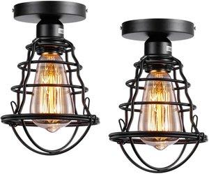 Ceiling Lights 2Pack Vintage Mount Light E27 Base Rustic Antique Metal Caged Industrial Fixture For Hallway Porch