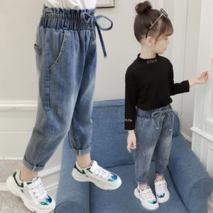 2021 New Spring From the Child's Elastic Mid-waist Pants for Children's Casual Girl's Clothes Washed Baby Brim 4eca