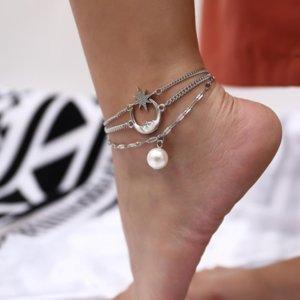 Богемные болишки для женщин-девочек мода 3 слоистые жемчужные звезды звезды подвески ноги браслета ноги сандалии летние пляжные украшения