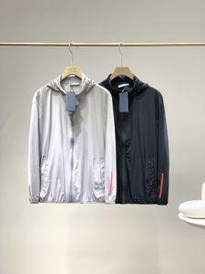20ss Avrupa Modelleri Retro Sokak Hoodie Erkekler Ceket Klasik Işlemeli Etiket Kollu Boy Güneş Koruma Rüzgar Geçirmez Elastik Ceketler