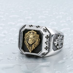 New Foreign Ornament Wholesale Titanium Steel Gold Plated Lion Head like Ring Mens Power Style Personalized Ring