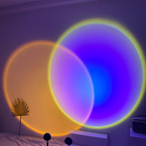 USB Button Rainbow Sunset Projector Atmosphere Led Night Lights Home Coffe Shop Background Wall Decoration Colorful Sunset Lamp C0305