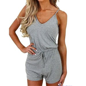 Simple Casual Playsuit Women Sleeveless Elegant Jumpsuit Ladies Summer Romper Womens Set V-Neck Beach Jumpsuits Overall