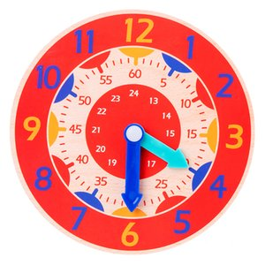 Early Childhood Education Wooden Clock Toys Counting Time Hour Minute Second Cognition Colorful Clocks Toy for Kids Early Preschool Teaching Aids Cognitive Bauble