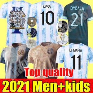 2021 Copa America 아르헨티나 개념 축구 유니폼 기념 Maradona 남자 + 키트 메시 디 Bybala Kun Aguero Higuain Youht 어린이 21 22 축구 셔츠