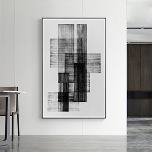 Nordic abstract black and white line oil painting poster and living room wall art picture, modern art poster