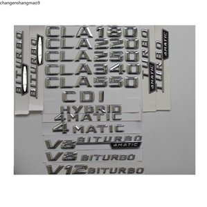 Chrome Trunk Rear Letters Badge Emblem sticker for Mercedes Benz CLA45 CLA63 AMG CLA200 CLA220 CLA260 CLA300 CLA400 4MATIC CDI