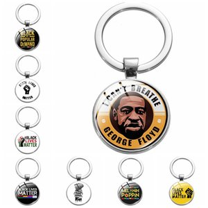 BLM Keyring Chain Black Lives Matter I Cant Breathe Glass Cabochon Pendant Bag Charms Jewelry Fashion Car Key Ring Gift Keychain Accessories