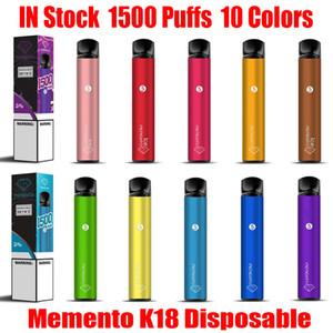 ORIGINAL MEMENTO K18 KIT DE DISPOSITIVO DE VECTOR DESECHABLE DE MEMENTO K18 850mAH Batería 4.8ml 1500 Puffs Carácter precargado Vape Stick Pen Bar más 100% auténtico