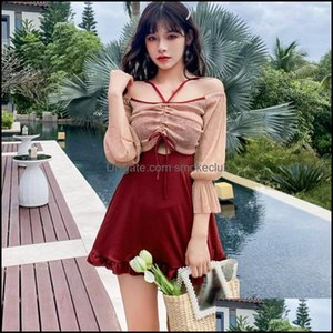 Two-Piece Swimming Equipment Sports & Outdoorstwo-Piece Suits Two Pieces Sexy Swimsuit For Women Korean Style Long Sleeves Sunscreen Beach C
