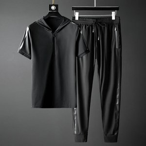 Men's Tracksuits Minglu-Conjuntos De Verano Para Hombre, Camiseta Y Pantalones Manga Corta Con Capucha Lujo, Chándal Masculino Talla