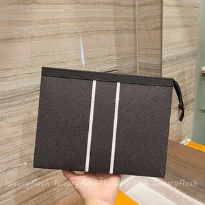 Latest Designer Pochette Clutch Splicing Mens Handbag High Quality Cowhide Womens Handbags Protective Makeup POUCH Travel Wash Bag