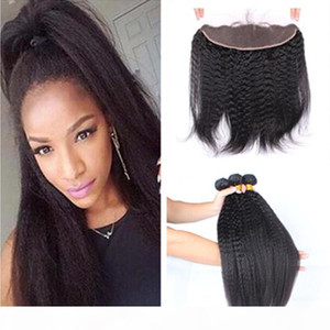 7A Grade Kinky Straight Brazilian Human Hair Wefts With Frontals 4Pcs Lot Italian Coarse Yaki Lace Frontal Closure 13x4 With Weaves Bundles
