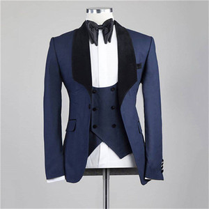 Brand New Groomsmen Navy Blue Groom Tuxedos Shawl Lapel Men Suits Wedding Prom Dinner Best Man Blazer ( Jacket+Pants+Tie+Vest ) G238