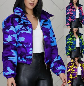 Women's Jackets Fashion Camouflage Bread Down Jacket Clothing Zipper Cotton Couple Quilted Color Coat