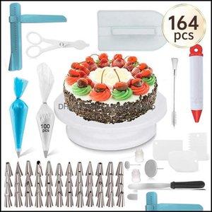 Baking Bakeware Kitchen, Dining Bar Home Gardeking & Pastry Tools 164Pc Mtifunction Cake Turntable Set Decorating Kit Nozzle Fondant Tool Ki