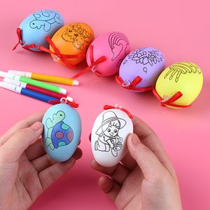 Party Gift Printing Pattern Egg Kids Graffiti Eggs Colour Pen 5pcs Set Easter Fashion Red Bow DIY Hanging Handmade Plastic 0 69xd G2