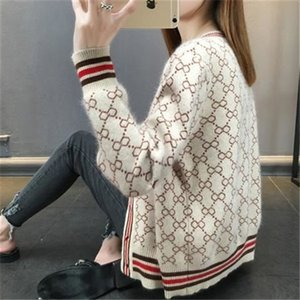 High-quality designer women's sweater new casual fashion cardigan jacquard letter v-neck warm sweater high-end atmosphere and temperament