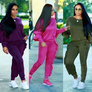 Candy Color Tracksuits for Women Autumn Winter Clothing Wear Sets 2pcs Solid Tops Long Pants Outfits