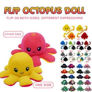 Tiktok Illuminated Flip Octopus peluche peluche jouets pour enfants mignon en colère sourire émotion inversable animal poupée peluche poupée enfants cadeau