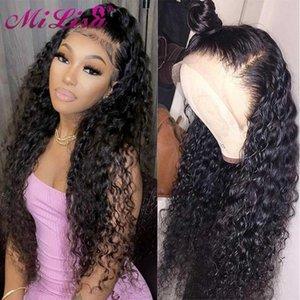 레이스 가발 물 웨이브 프론트 인간의 머리카락 30 인치 흑인 여성용 밀도아 천연 브라질 레미 4x4 폐쇄 가발