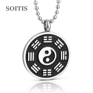 Soite chinesa tradicional símbolo tai chi colar bagua yin yang mulheres homens homens colares clássicos pingente cadeia frisada preta