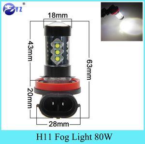 Car Headlights 2 Pcs H11 Fog Light Styling 80W Cree Chips LED Lamp Headlight Bulb Lights 12V 6000K White Foglight