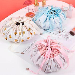 Lazy Cosmetic Bag Velvet Drawstring Bags Cartoon Makeup Organizer Storage Bags Travel Cosmetic Pouch Magic Toiletry String Bag GGA3202