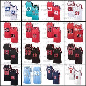 Чикаго23 Майкл Джерси Скотти 33 Pippen Dennis 91 Родман Джерси Ретро БуллБаскетбол Джерси