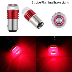 2PCS Red Bulbs For Car Tail Brake Lights Auto Turn Signal Lamp Light 1157 BAY15D P21 5W Strobe Flashing LED Projector