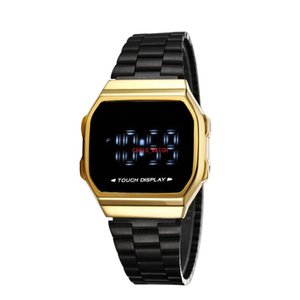 2021 LED digital watch casual fashion square ladies watch iced out watch automatic touch screen waterproof and shockproof world time1