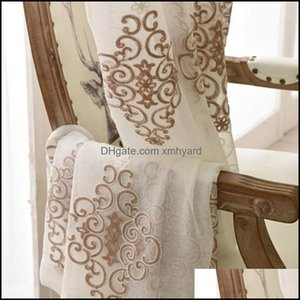 Curtain Drapes Deco El Supplies Home & Gardentle European Coffee Color Towel Curtains Tle For Living Room Bedroom Study Advanced Embroidered