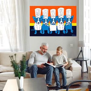 """Blauer Hund """"Wärme in der Küche"""" Home Decor Handgemalt HD Print Ölgemälde auf Leinwand Wandkunst Canvas Bild 210309"""