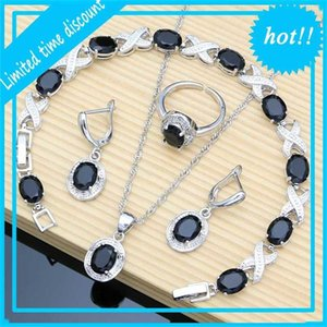 12 Colors Precious stone Silver 925 Jewelry Sets Black Obsidian Birth tests Earrings Bracelet Resizable Ring Chain Wholesale
